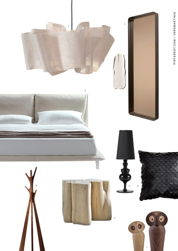 MOODBOARD*03 Camera/Bedroom 1—Lampada/Lamp: Anders Light, Pinch Design http://pinchdesign.com/products/anders-light 2—Specchio/Mirror: Cypris Spiegel, Nina Mair for @classiconmuc 3—Letto/Bed: John-John, Jean-Marie Massaud for @poltronafrau 4—Comodino/Side table: Brick, Paola Navone for @gervasoni1882 5—Lamp/Lampada: Josephine, Jaime Hayon for @bdbarcelona 6—Cuscino/Cushion: @hm 7—Oggetto/Object: Owl, Paul Anker for Architectmade 8—Appendiabiti/Coat stand: Stag, Trett Design