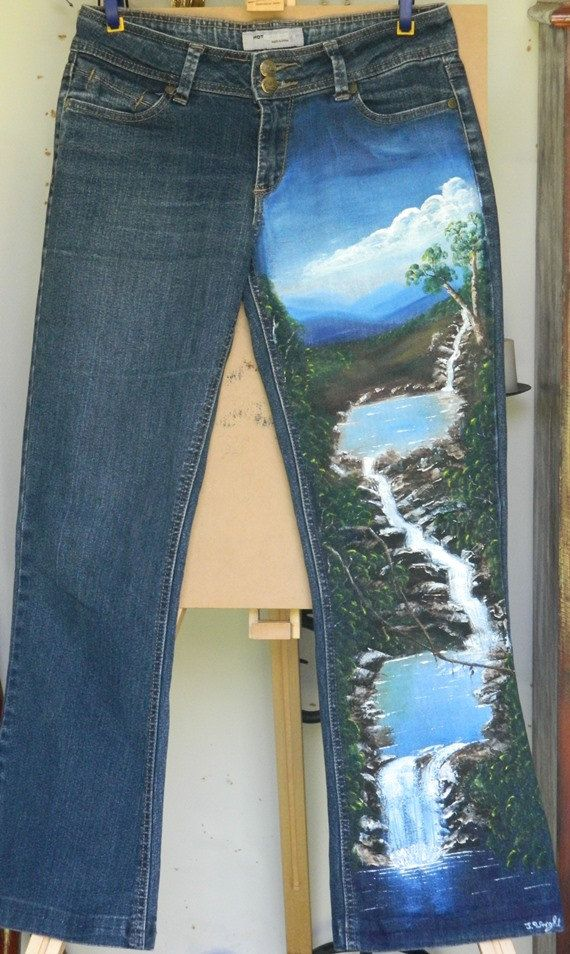Hand Painted Jeans with Waterfalls  Original One Only