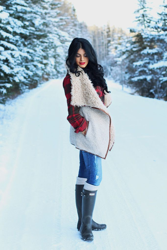 Hunter boots + cute winter look
