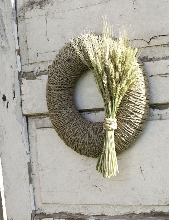Fall wreath autumn wreath decorated with beautiful bouquet of dried rye stalks with original dried grass ribbon. It can decorate your door for the summer and autumn season! Wreath can be perfect home decor for thanksgiving too. FALL WREATH SPECIFIC: • 100% handmade • Ready to ship in 5 business day • Used materials: jute cord, dried rye stalks, dried grass • Measures: external diameter wreath is 39 cm (15 inches), internal about 16,5 cm (6.5 inches), thickness without decor approximately 6…