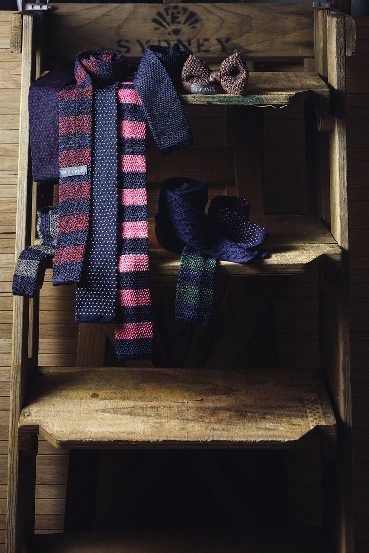 Take your style versatile with our 100% silk and 100% wool flat-bottom knitted ties. Pefect for (cooler) workwear or to team with a blazer on weekends.  www.mjbale.com/ties