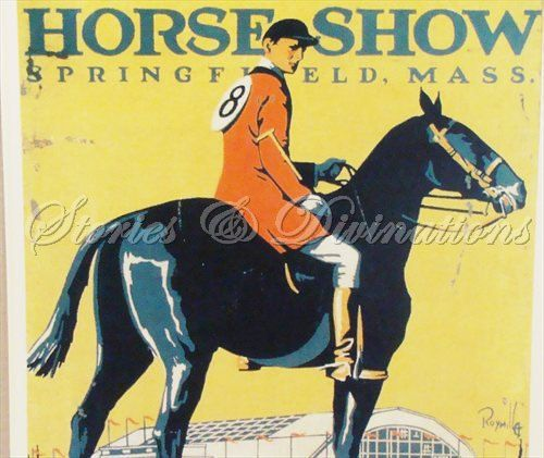 Horses - Vintage Equestrian Poster - ESE Horse Show Poster - Sweet Small 1920s Art Deco with Warm Yellow and Orange on Etsy, $21.00