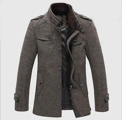 Fashion Men's Woolen Slim Collar Thicken Lined Coat Jacket Warm Overcoat Parka