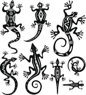 Tribal Animal Tattoos - Lizards