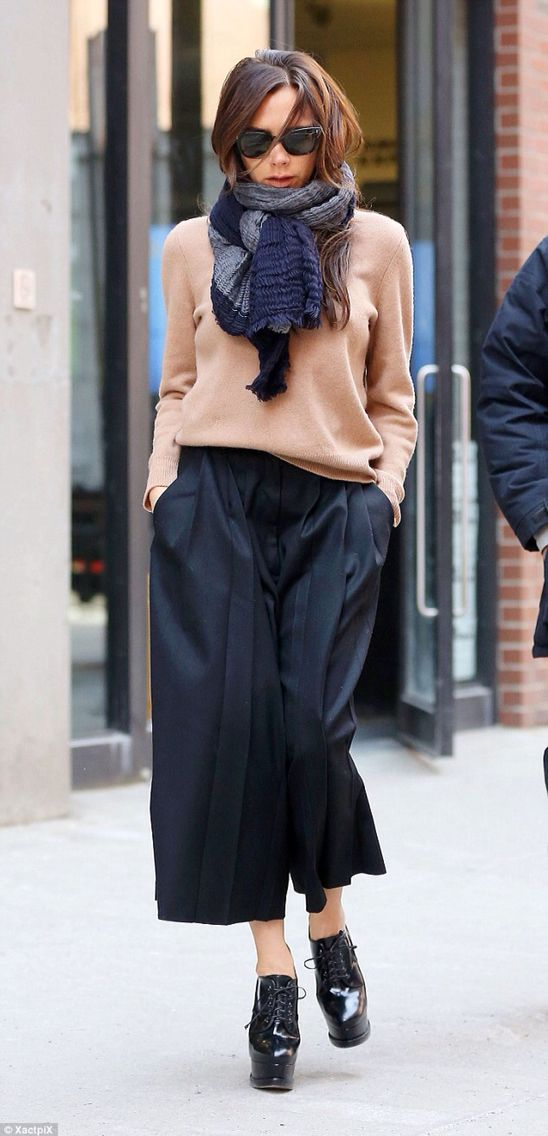 Victoria Beckham in he own designer outfit - chic city look for winter