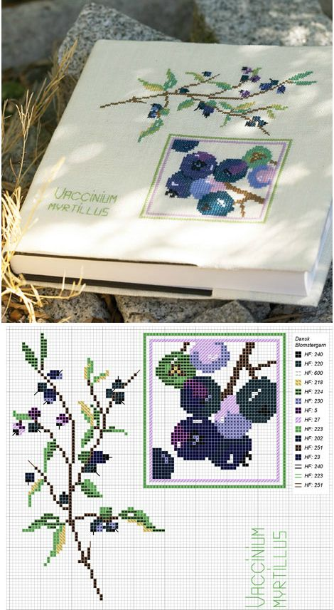 August. Cross stitch pattern with #blueberries.