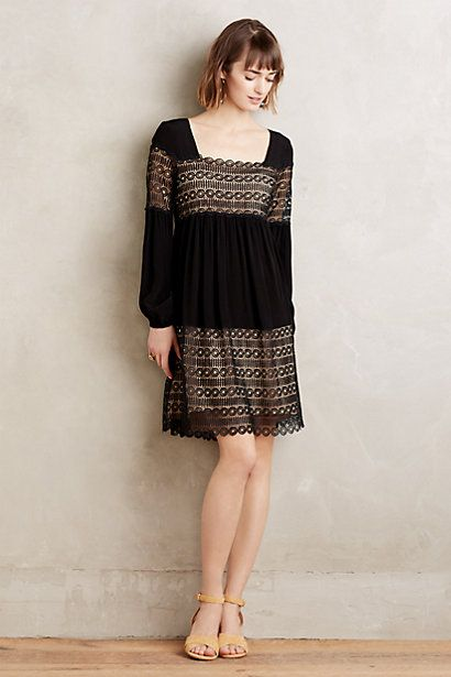 Anthropologie EU Aira Lace Peasant Dress, Black