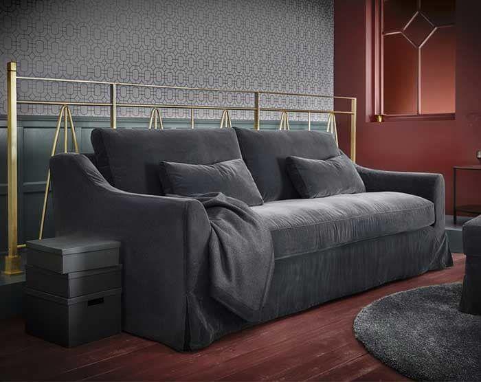 An Ikea Farlov Sofa In Gray Ikea Sofa Living Room Sofa