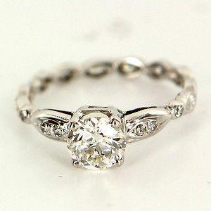 Estate Platinum Diamond Engagement Ring Fine Jewelry Pre-Owned Used 6.5 Vintage $3895