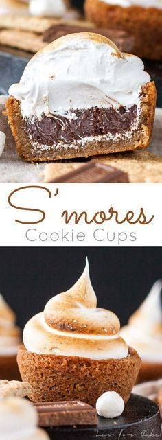 No campfire needed f No campfire needed for these S'mores Cookie...  No campfire needed f No campfire needed for these S'mores Cookie Cups! Graham cracker cookie cups filled with a Hersheys milk chocolate ganache topped with toasted homemade marshmallow fluff. | livforcake.com Recipe : http://ift.tt/1hGiZgA And @ItsNutella  http://ift.tt/2v8iUYW
