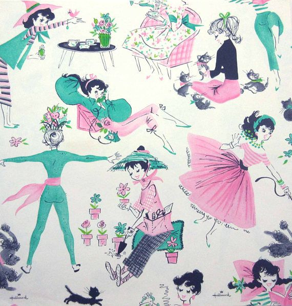 Vintage 1950s or 1960s All Occasion or Birthday Wrapping Paper