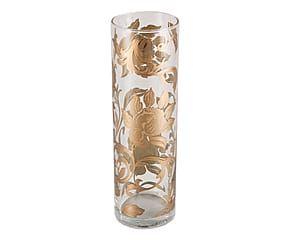 Vaso cilindrico in vetro Sek con ramages trasparente e oro - 30x9 cm