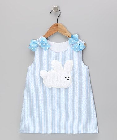 Take a look at this Blue Rabbit Seersucker Jumper - Infant, Toddler & Girls by Wiggles and Giggles on #zulily today!