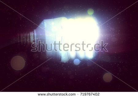 One light bulb glowing in the dark, abstract 3d illustration.