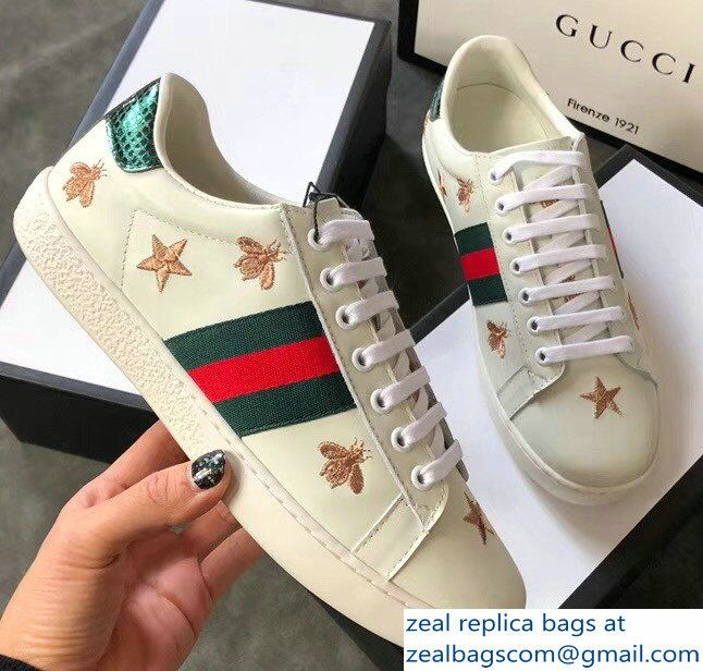 cf85b576a Gucci Ace Leather Low-Top Lovers Sneakers Green/Red Web Embroidered Bees  and Stars Creamy 2018_2803115315