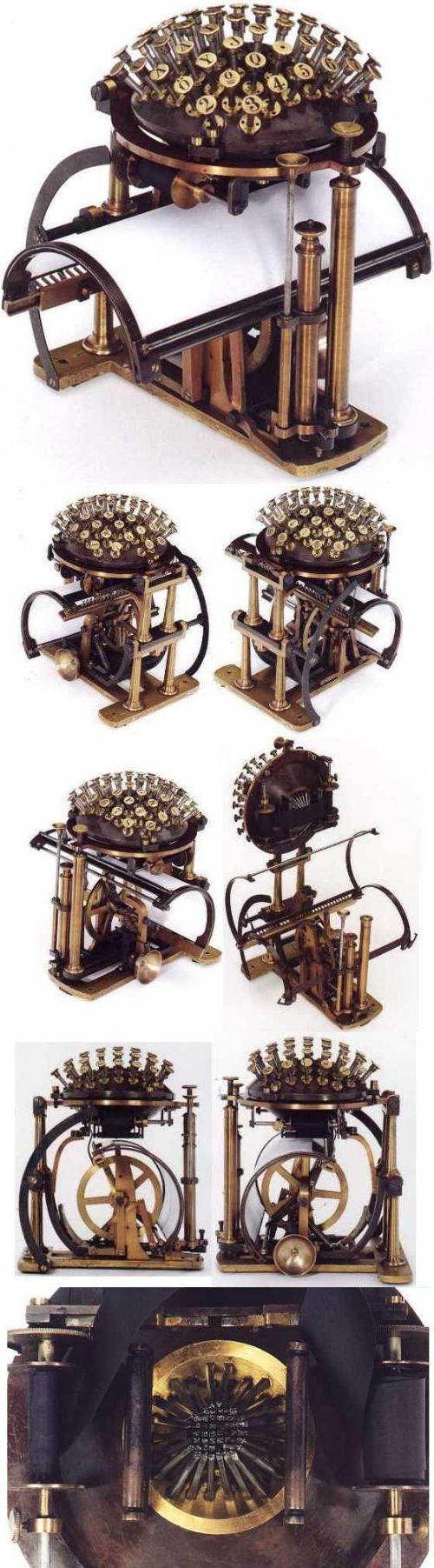 Real life steampunk: Friedrich Nietzsche's typewriter, the Malling Hansen Writing Ball, from various angles.