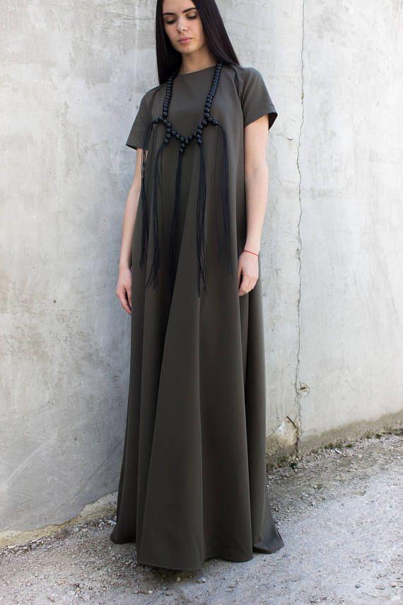 Long maxi dress/Boho dress/Plus size clothing/Long kaftan/Long dress formal/Extravagant dress/Long summer dress/Tunic/Black tunic/D0026
