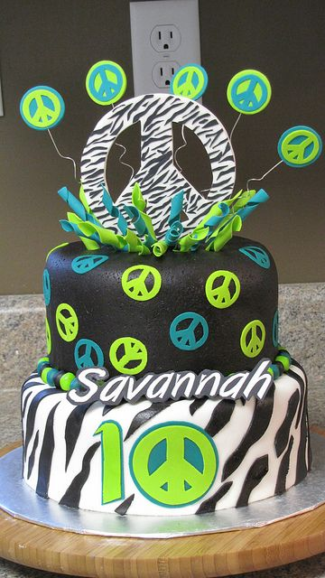 Zebra Print and Peace Sign Themed Cake! by Creative Cakes by Ashley, via Flickr
