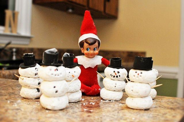 Elf on the Shelf Idea:  Making Donut Snowmen