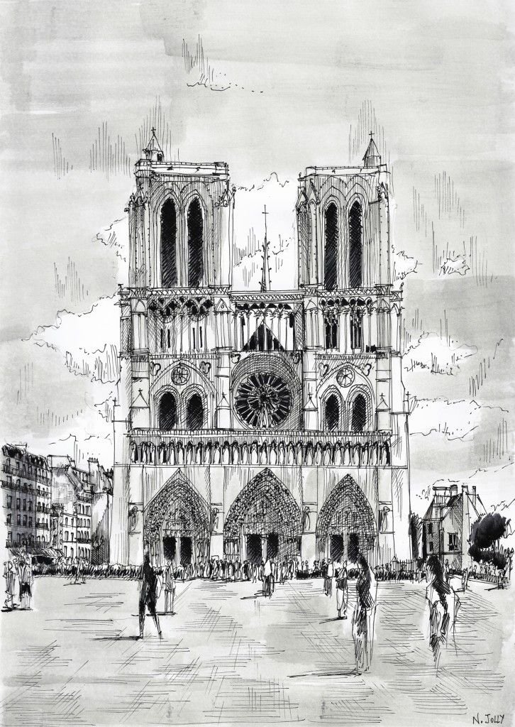 Watercolor and black ink/ Aquarelle et encre de Chine – Notre-Dame - Nicolas Jolly
