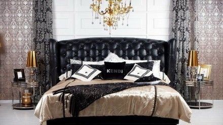 Transitional Bedroom Designs with Black Leather Bed