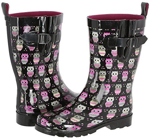 Capelli New York Ladies Owl Printed Mid Calf Rain Boot Black Combo 7 *** Find out more about the great product at the image link.
