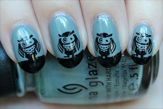 Owl nail art by Swatch and Learn