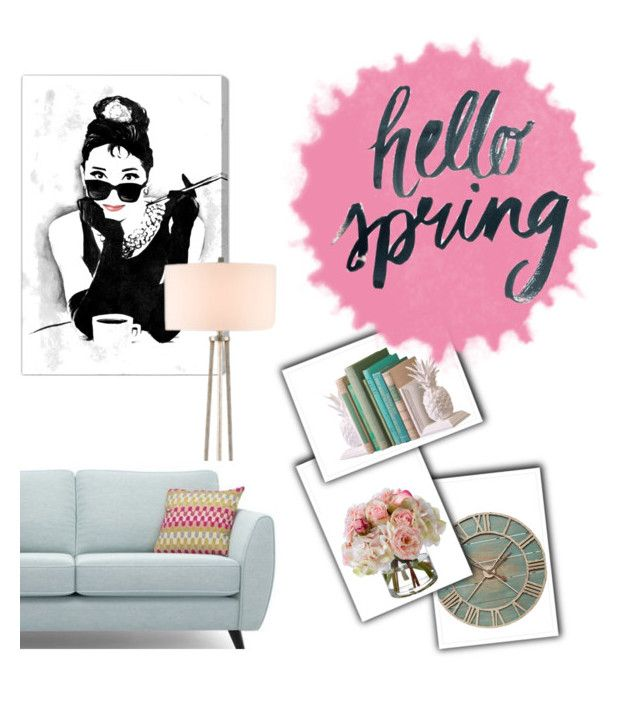 """""""Hello Spring! """" by roxi-ruzsa on Polyvore featuring interior, interiors, interior design, home, home decor, interior decorating, Pier 1 Imports, Oliver Gal Artist Co., Currey & Company and Diane James"""