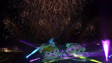 The grand opening is the combination of laser show, projection mapping, fireworks, music, and light.
