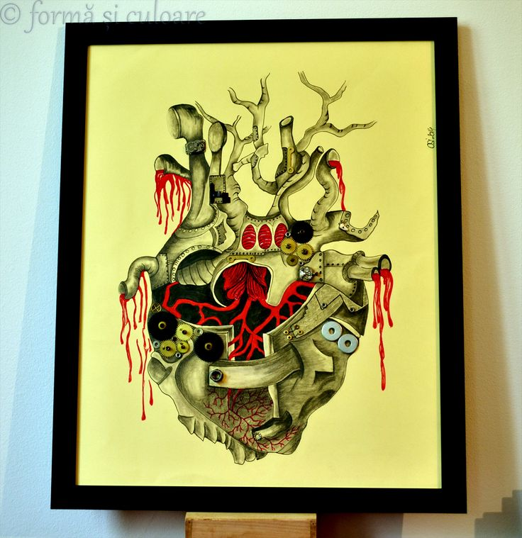 The real heart that is covered in iron and metal to protect the life inside. The life pumped through the blood. To protect the evil but to leave place for the happiness to go inside. And a bit of my steampunk passion ….. and here it is. Pencil and liner drawing. Size: 40 x 50 cm. With clock mechanism applied on the drawing. Please visit http://formasiculoare.wordpress.com/2014/09/29/iron-heart/ for more detailed photos of the artwork.