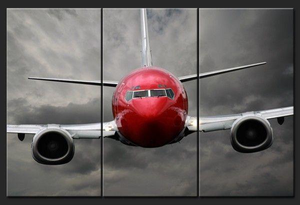 Tableau photo triptyque avion rouge nos best sellers - Tableau avion noir et blanc ...