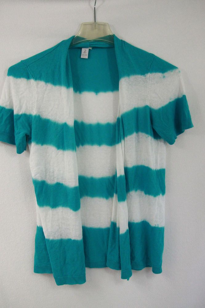 Chico's Aqua Blue and White Cardigan Sweater Sz 2 Large Open Short Sleeve Resort #Chicos #Cardigan