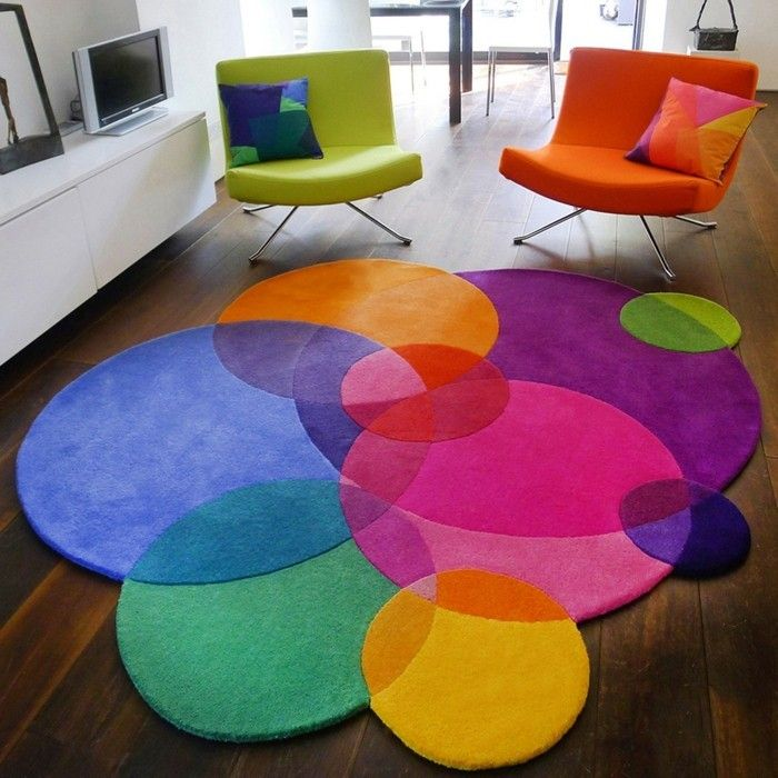 teppich rund farbig ausgefallen wohnideen wohnzimmer | Deko | Pinterest