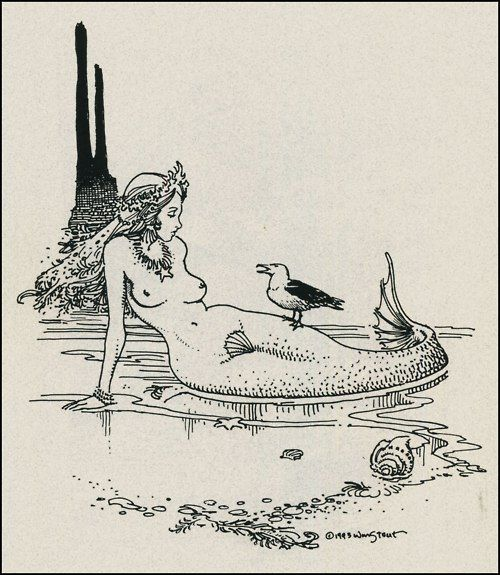 • drawing Illustration art hair vintage water beach sand bird ocean sea mermaid mermaid hair mythology fish tail fins seashell seashells conch sea star star fish kelp mythological creature wrde •