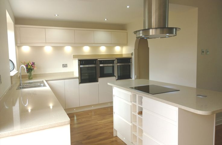 handleless gloss cream kitchen