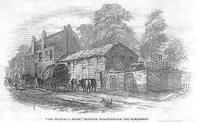 """The Halfway House between Knightsbridge and Kensington: the typical country inn, standing in the centre of the highway opposite where the Prince of Wales Gate was later built was an """"unseemly building"""" and a disfigrement to the """"Western entrance to the Metropolis"""""""