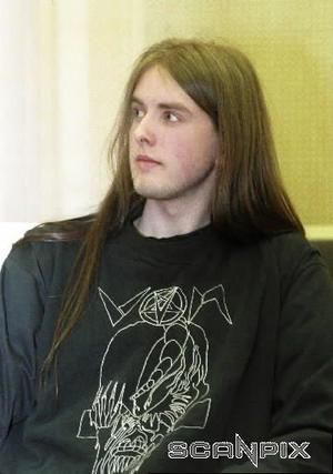 Varg Vikernes of Norwegian Black metal band Burzum during his arrest in 1994 for killing a former band mate/ Record Label owner Oystein Aerseth. An act of self defense as he had been told Oystein was planning on killing him first.