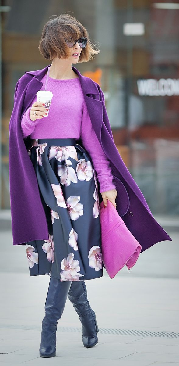 winter floral with purple