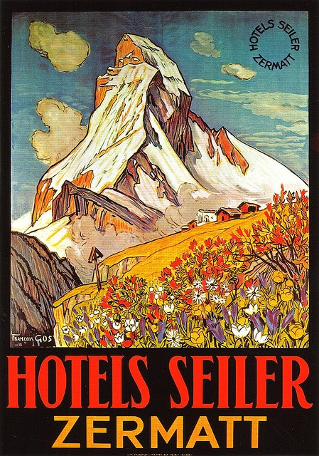 Hotels Seiler, Zermatt, vintage travel poster, Francois Gos 1925