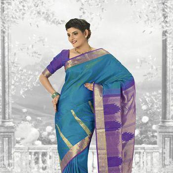 Royal Blue and Purple Pure kanchipuram Handloom Silk Saree with Blouse