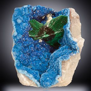 Malachite on Shattuckite with Quartz - If color is your thing, well then, this is your mineral combination. It is the ultimate, end all, for visual impact. In 25 years of collecting I have never before, or since, seen anything quite like this combination.