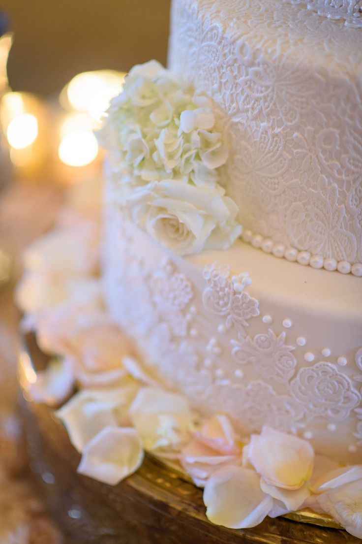 Elegant 4 Tier Round White Wedding Cake With Sugar Lace And Flowers By The