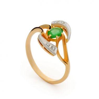 Кольцо с изумрудом из комбинированного золота