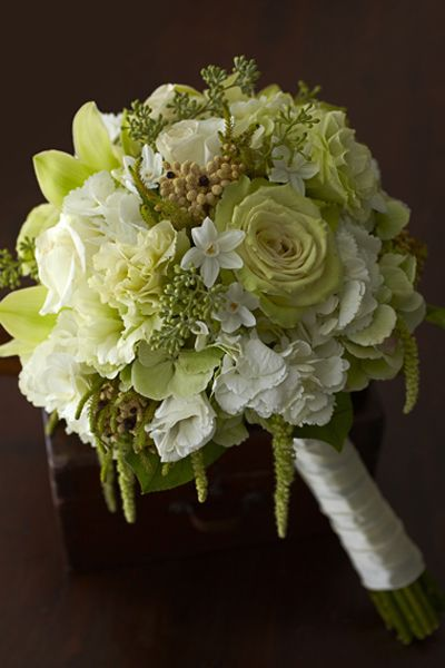 Bride Bouquet ~ subtle touches of soft green with Green Fashion roses, light green hydrangea, seeded eucalyptus, lisianthus and hanging amaranthus