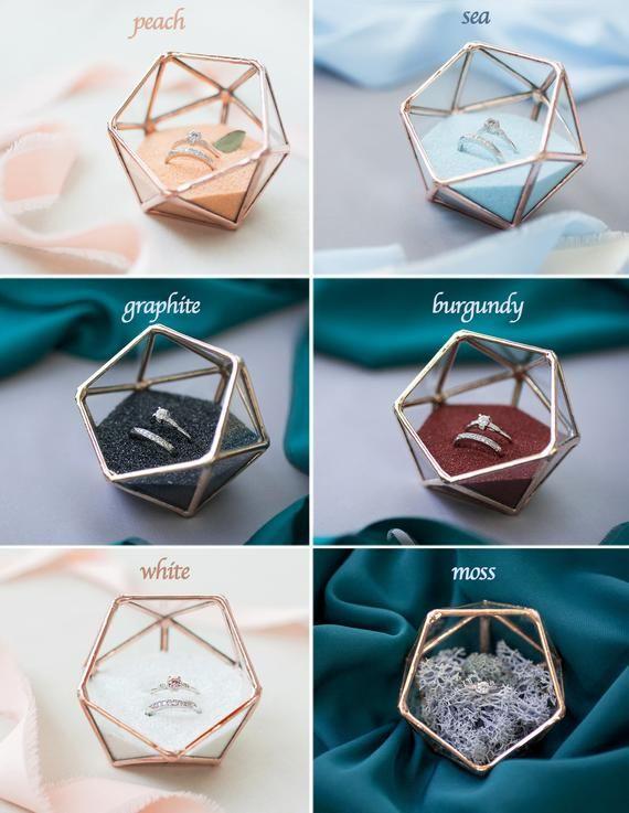 Gold ring box Wedding Ring Box Engagement Ring Box Rustic Wedding Glass ring box for wedding and engagement Glass ring holder