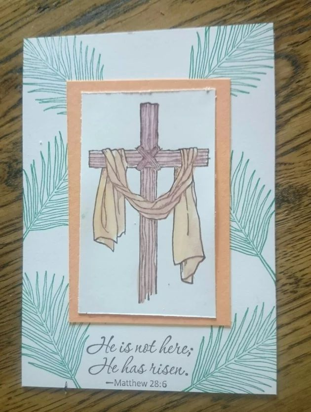 I have been playing around with designs for my Easter Message stamp set from Stampin Up. This card is made using Whisper White and Peekaboo Peach Card Stock, the Chocolate Chip and Emerald Envy ink pads for stamping, and my Aqua Painter with Peekaboo Peach and Chocolate Chip colours.