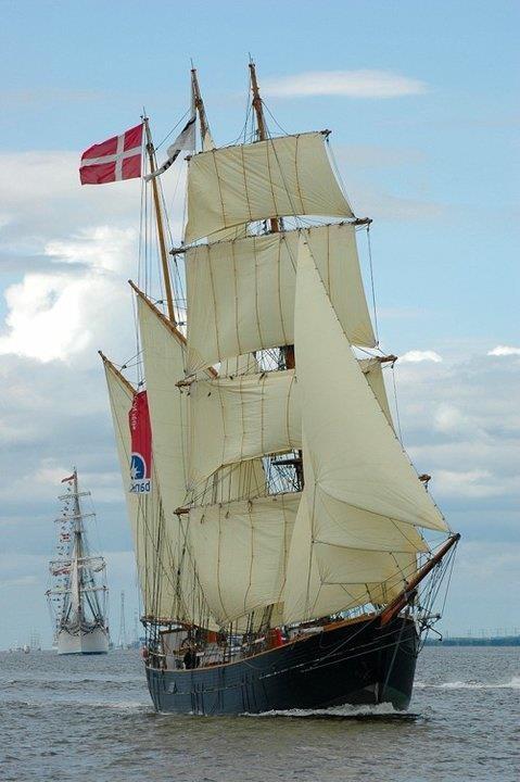 Beautifully rigged Danish barquentine,  sailing  Tall Ship Race in Aalborg, Denmark