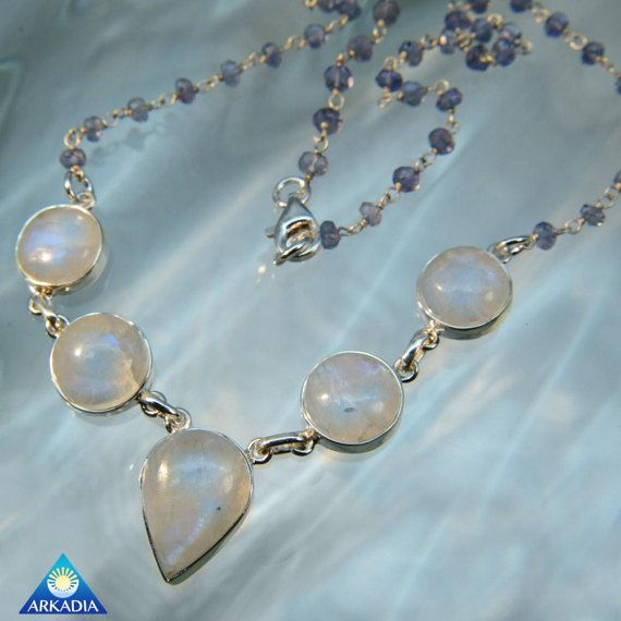 Blue Moonstone & Iolite gemstone Silver by ArkadianCollection