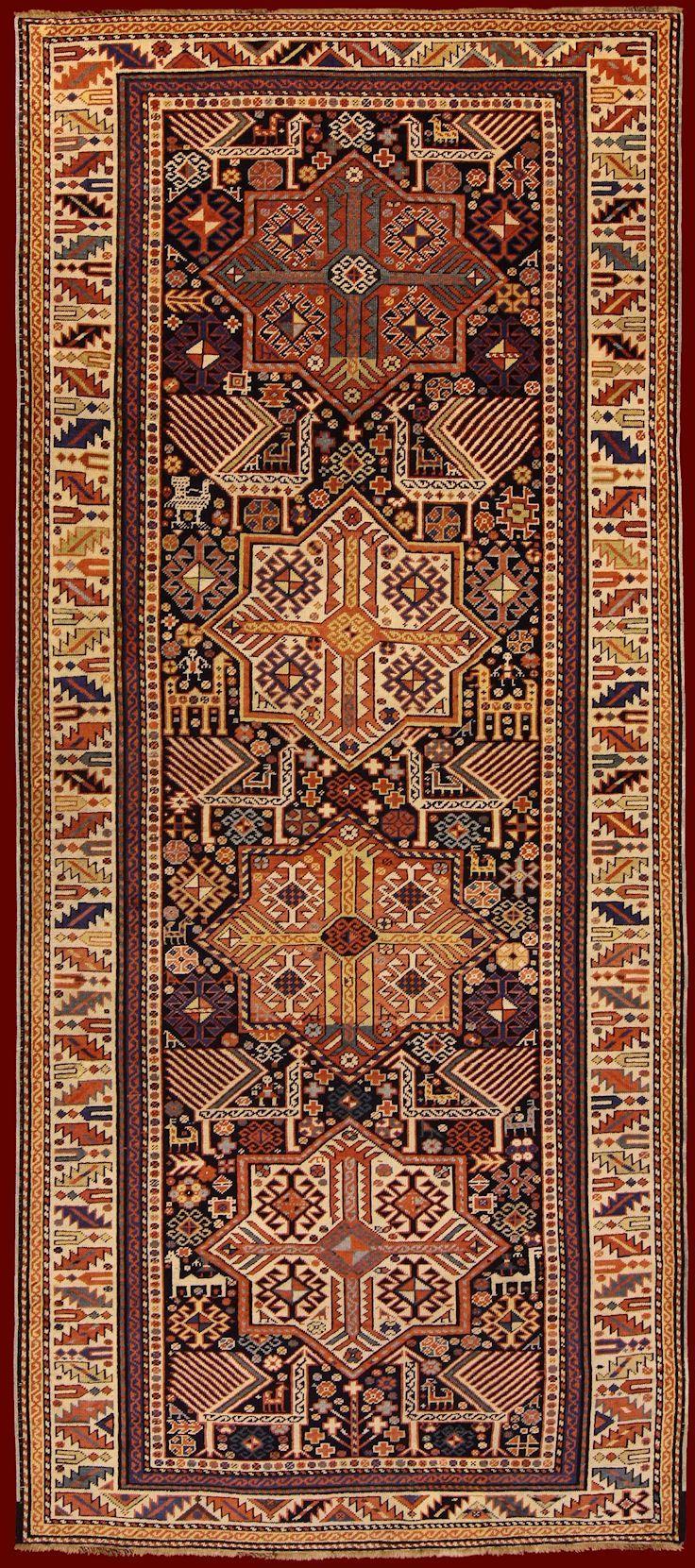 (494) SHIRVAN AKSTAFA ANTIQUE RUG cod. 141205259366 285 x 122 | persian rugs | Pinterest