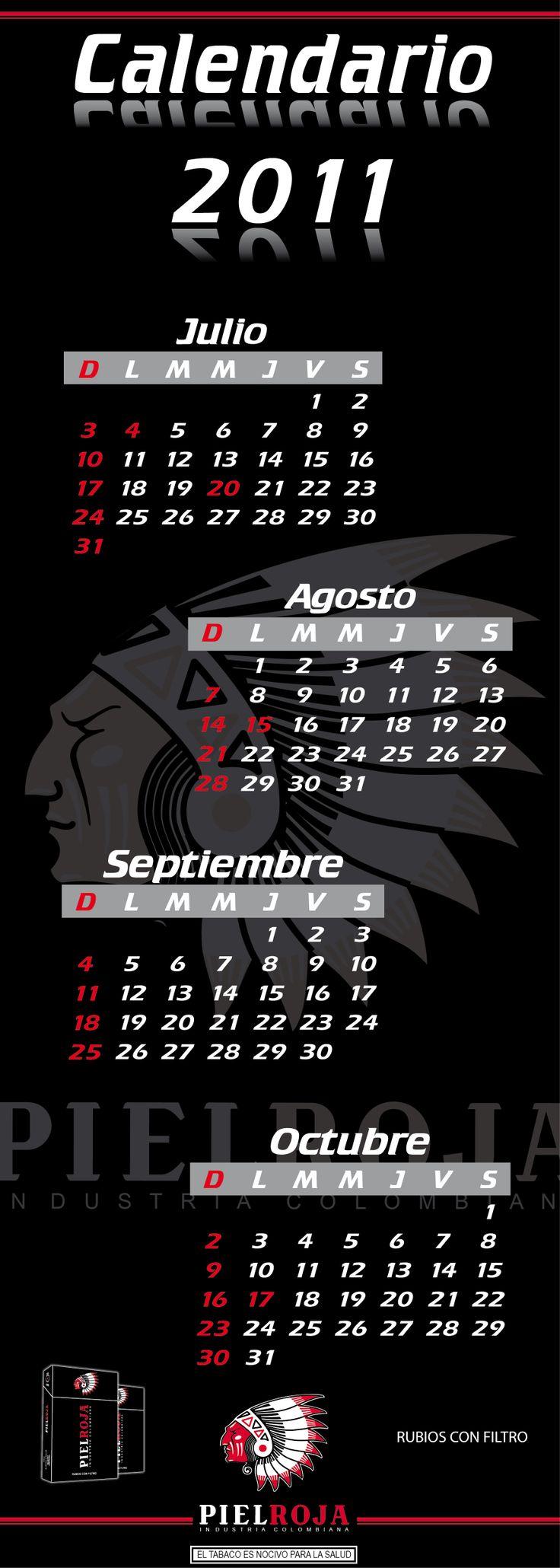 Calendario 2011. Cliente: Cigarrillos Piel Roja